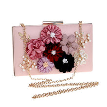 A-SHU BLACK 3-D FLORAL EMBELLISHED PEARL CLUTCH BAG WITH LONG STRAP - A-SHU.CO.UK