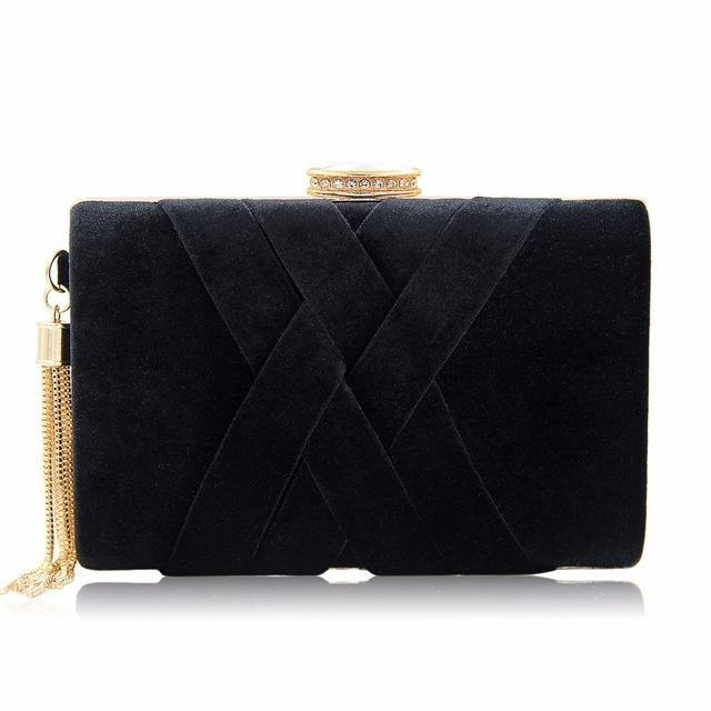 A-SHU BLACK FAUX SUEDE HARDBACK CLUTCH BAG WITH CRISS-CROSS DESIGN - A-SHU.CO.UK