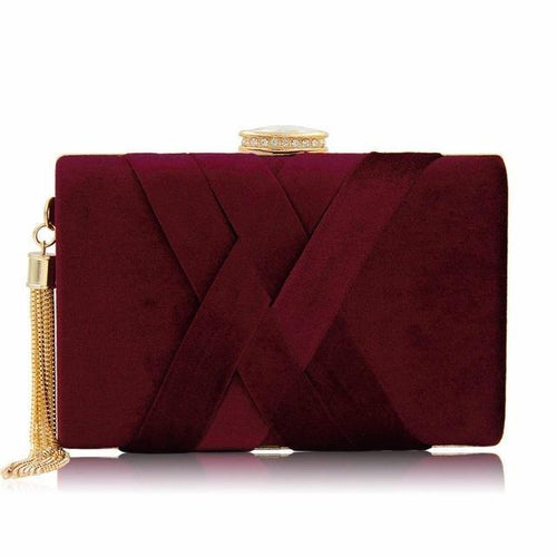 MAROON FAUX SUEDE HARDBACK CLUTCH BAG WITH CRISS-CROSS DESIGN