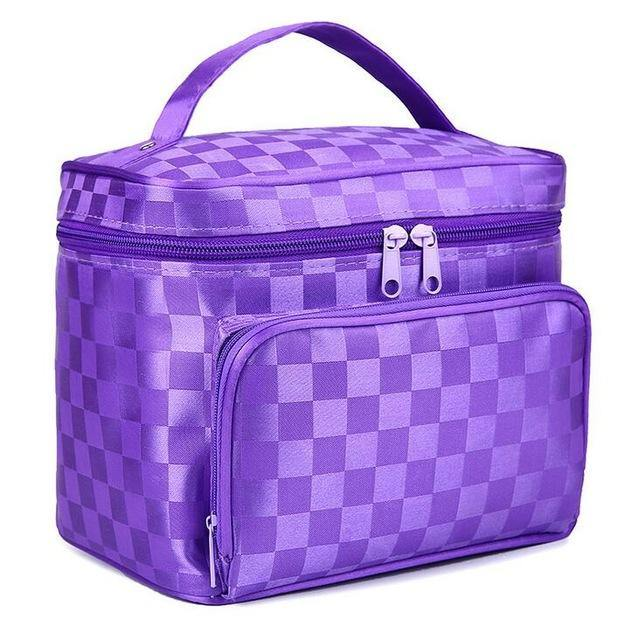 A-SHU LARGE PURPLE HOLOGRAM COSMETIC MAKE UP BAG ORGANISER / TOILETRY TRAVEL BAG - A-SHU.CO.UK