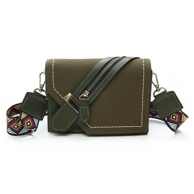 A-SHU KHAKI GREEN FAUX SUEDE DESIGNER STYLE CROSS-BODY SHOULDER BAG WITH COLOURFUL STRAP - A-SHU.CO.UK
