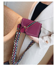 PURPLE FAUX SUEDE DESIGNER STYLE CROSS-BODY SHOULDER BAG WITH COLOURFUL STRAP