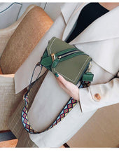 KHAKI GREEN FAUX SUEDE DESIGNER STYLE CROSS-BODY SHOULDER BAG WITH COLOURFUL STRAP