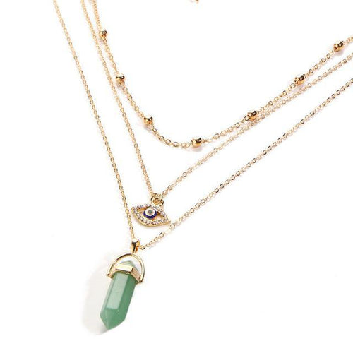 A-SHU GREEN EVIL EYE OPAL STONE GOLD MULTI LAYER DAINTY CHOKER NECKLACE - A-SHU.CO.UK