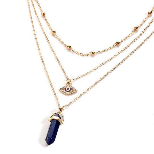 NAVY BLUE EVIL EYE OPAL STONE GOLD MULTI LAYER DAINTY CHOKER NECKLACE