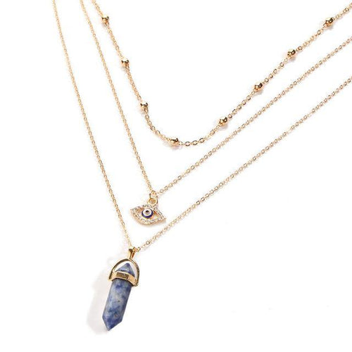 A-SHU BLUE / GREY EVIL EYE OPAL STONE GOLD MULTI LAYER DAINTY CHOKER NECKLACE - A-SHU.CO.UK