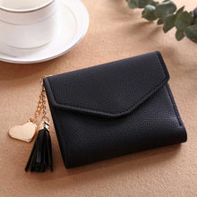 A-SHU SMALL BLACK MULTI-COMPARTMENT PURSE WALLET WITH HANGING TASSEL AND HEART CHARM - A-SHU.CO.UK