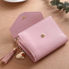A-SHU SMALL LIGHT PINK MULTI-COMPARTMENT PURSE WALLET WITH HANGING TASSEL AND HEART CHARM - A-SHU.CO.UK