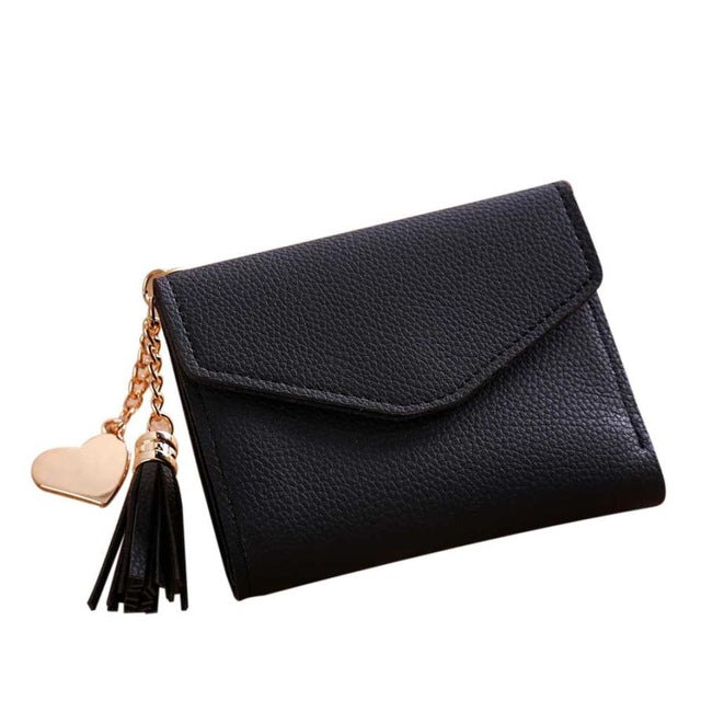 SMALL BLACK MULTI-COMPARTMENT PURSE WALLET WITH HANGING TASSEL AND HEART CHARM