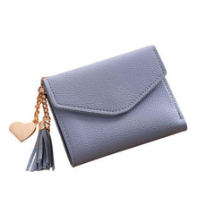 SMALL BLUE MULTI-COMPARTMENT PURSE WALLET WITH HANGING TASSEL AND HEART CHARM
