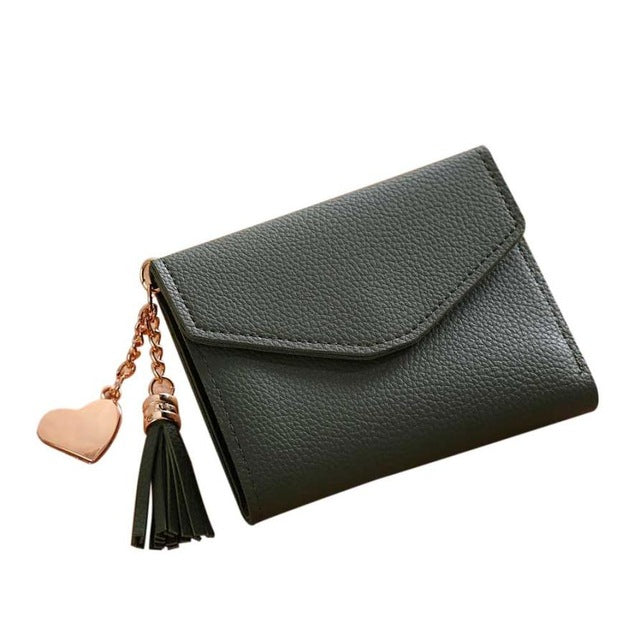 A-SHU SMALL GREY MULTI-COMPARTMENT PURSE WALLET WITH HANGING TASSEL AND HEART CHARM - A-SHU.CO.UK