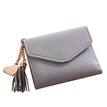 A-SHU SMALL KHAKI GREEN MULTI-COMPARTMENT PURSE WALLET WITH HANGING TASSEL AND HEART CHARM - A-SHU.CO.UK