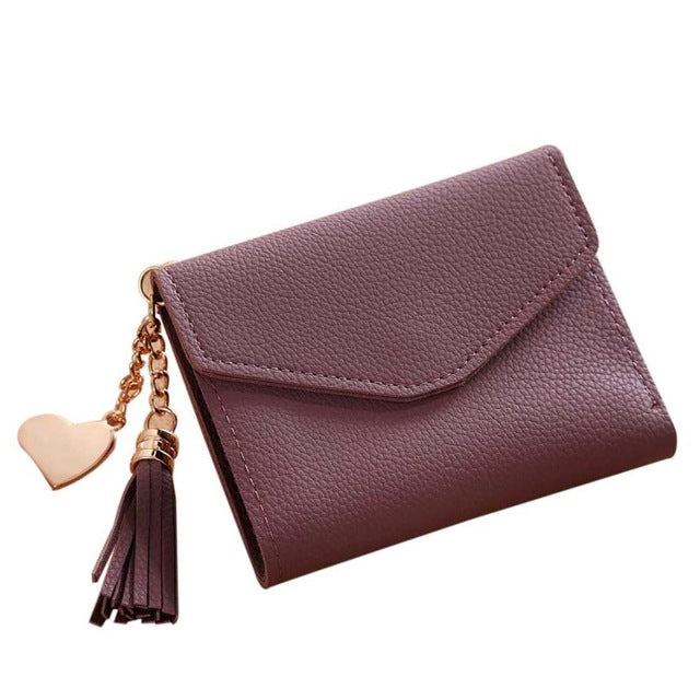 A-SHU SMALL MAUVE MULTI-COMPARTMENT PURSE WALLET WITH HANGING TASSEL AND HEART CHARM - A-SHU.CO.UK