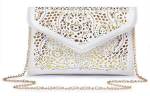 A-SHU LARGE BEIGE CUT OUT ENVELOPE SHAPED CROSS-BODY CLUTCH BAG WITH CHAIN STRAP - A-SHU.CO.UK
