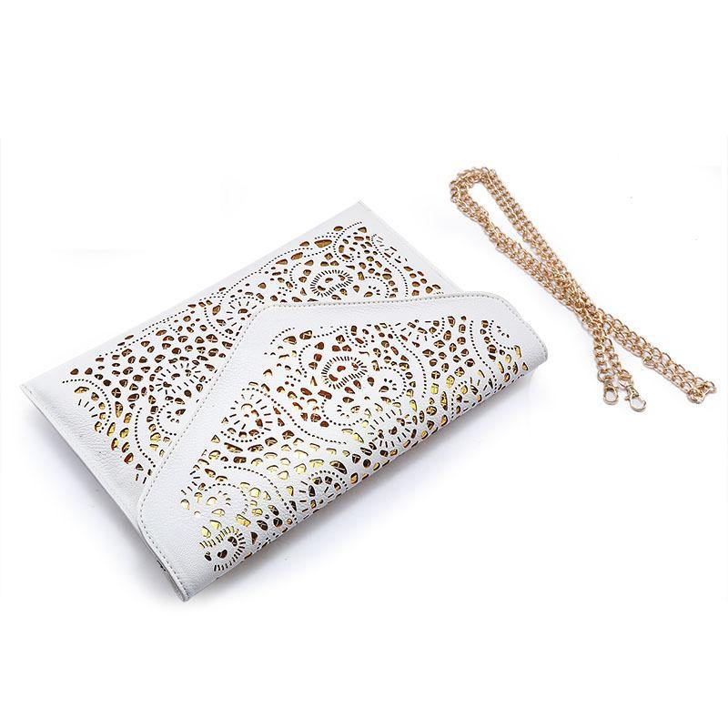 A-SHU LARGE PINK CUT OUT ENVELOPE SHAPED CROSS-BODY CLUTCH BAG WITH CHAIN STRAP - A-SHU.CO.UK