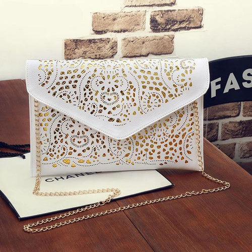 A-SHU LARGE WHITE CUT OUT ENVELOPE SHAPED CROSS-BODY CLUTCH BAG WITH CHAIN STRAP - A-SHU.CO.UK