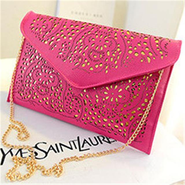 A-SHU LARGE BLACK CUT OUT ENVELOPE SHAPED CROSS-BODY CLUTCH BAG WITH CHAIN STRAP - A-SHU.CO.UK