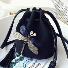 A-SHU SMALL BLACK DRAWSTRING CROSS-BODY BAG WITH EMBELLISHED DRAGON FLY - A-SHU.CO.UK