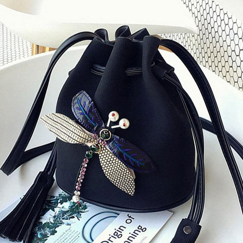 SMALL BLACK DRAWSTRING CROSS-BODY BAG WITH EMBELLISHED DRAGON FLY