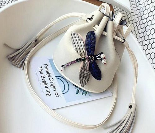 A-SHU SMALL CREAM DRAWSTRING CROSS-BODY BAG WITH EMBELLISHED DRAGON FLY - A-SHU.CO.UK