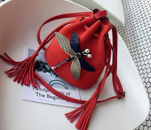 SMALL RED DRAWSTRING CROSS-BODY BAG WITH EMBELLISHED DRAGON FLY