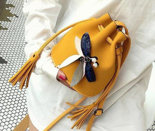 A-SHU SMALL YELLOW DRAWSTRING CROSS-BODY BAG WITH EMBELLISHED DRAGON FLY - A-SHU.CO.UK