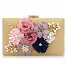 A-SHU BLACK 3-D FLORAL PEARL CLUTCH BAG WITH EMBELLISHED CLASP - A-SHU.CO.UK