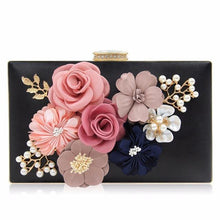 A-SHU RED 3-D FLORAL PEARL CLUTCH BAG WITH EMBELLISHED CLASP - A-SHU.CO.UK