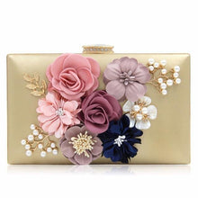 RED 3-D FLORAL PEARL CLUTCH BAG WITH EMBELLISHED CLASP