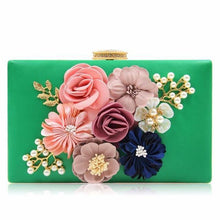 A-SHU WHITE 3-D FLORAL PEARL CLUTCH BAG WITH EMBELLISHED CLASP - A-SHU.CO.UK