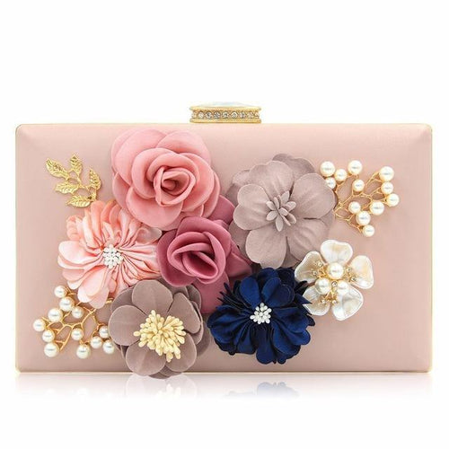 PINK 3-D FLORAL PEARL CLUTCH BAG WITH EMBELLISHED CLASP