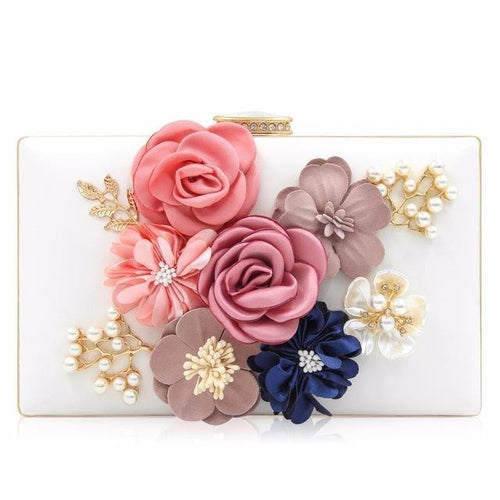 WHITE 3-D FLORAL PEARL CLUTCH BAG WITH EMBELLISHED CLASP
