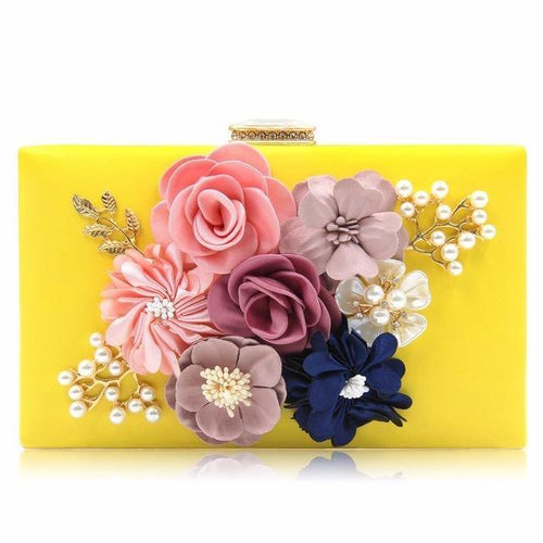 A-SHU YELLOW 3-D FLORAL PEARL CLUTCH BAG WITH EMBELLISHED CLASP - A-SHU.CO.UK