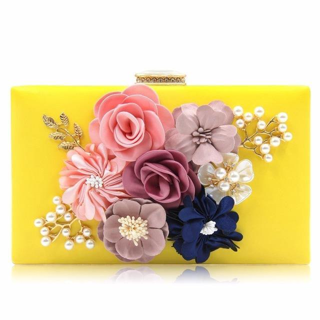 YELLOW 3-D FLORAL PEARL CLUTCH BAG WITH EMBELLISHED CLASP