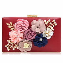 A-SHU GREEN 3-D FLORAL PEARL CLUTCH BAG WITH EMBELLISHED CLASP - A-SHU.CO.UK