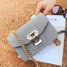 A-SHU GREY SMALL FAUX SUEDE CROSS-BODY SHOULDER BAG WITH CHAIN STRAP - A-SHU.CO.UK