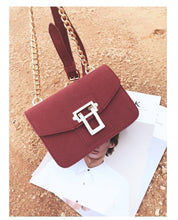 DEEP RED SMALL FAUX SUEDE CROSS-BODY SHOULDER BAG WITH CHAIN STRAP