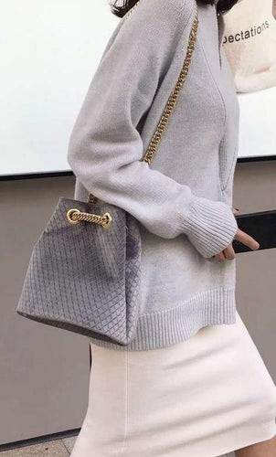 A-SHU GREY QUILTED VELVET BUCKET STYLE HANDBAG WITH CHAIN STRAP - A-SHU.CO.UK