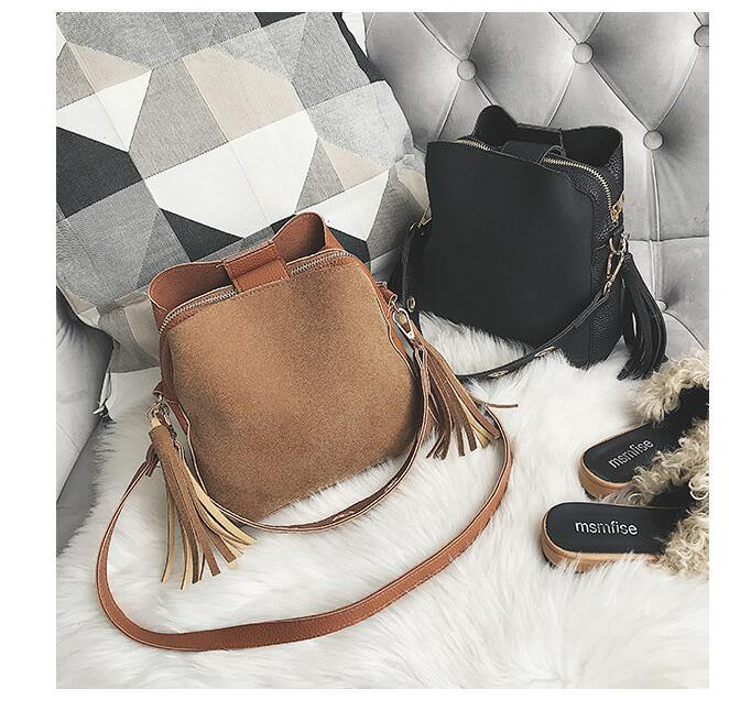 A-SHU BROWN MULTI-COMPARTMENT CROSS-BODY TASSEL BAG WITH SHORT SHOULDER STRAP - A-SHU.CO.UK