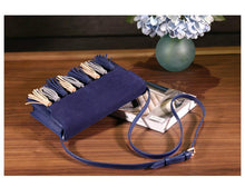 A-SHU DESIGNER STYLE NAVY BLUE FAUX SUEDE CROSS-BODY TASSEL BAG - A-SHU.CO.UK