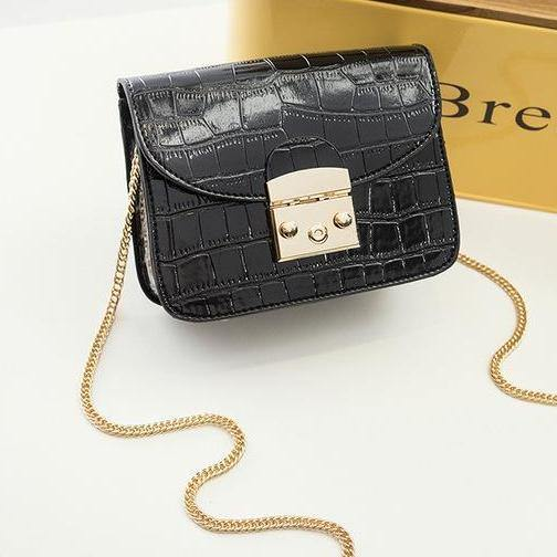 SMALL BLACK CROCODILE EFFECT CROSS-BODY HANDBAG WITH CHAIN LINKED STRAP