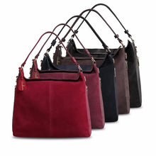 A-SHU DARK RED GENUINE SUEDE LARGE TOTE HANDBAG - A-SHU.CO.UK