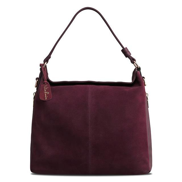MAROON GENUINE SUEDE LARGE TOTE HANDBAG