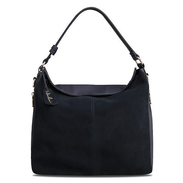 A-SHU NAVY BLUE GENUINE SUEDE LARGE TOTE HANDBAG - A-SHU.CO.UK