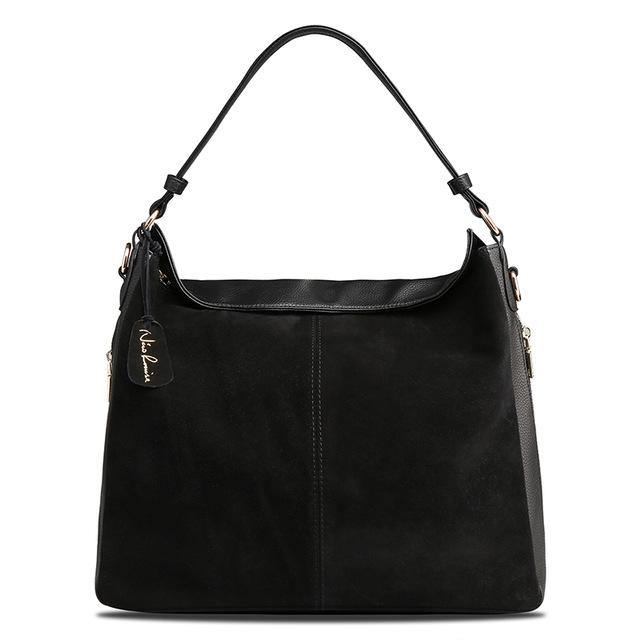A-SHU BLACK GENUINE SUEDE LARGE TOTE HANDBAG - A-SHU.CO.UK