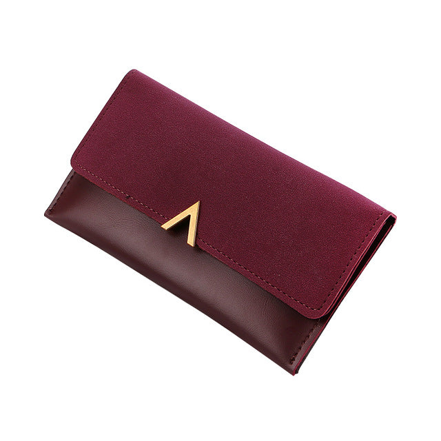 DESIGNER STYLE FAUX SUEDE LARGE MULTI-COMPARTMENT PURSE WALLET - MAROON