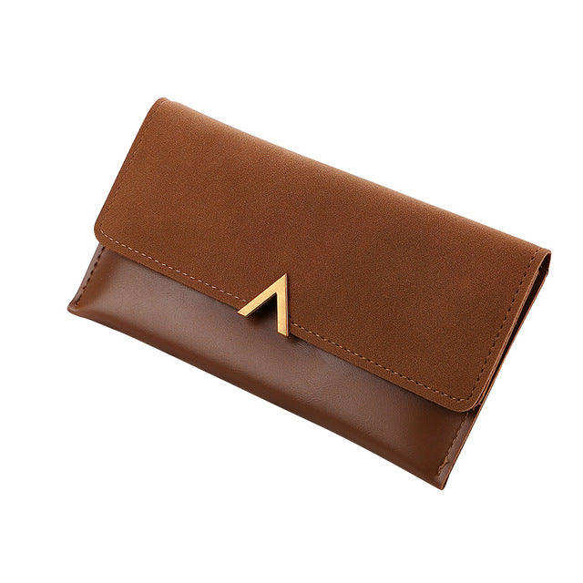 A-SHU DESIGNER STYLE FAUX SUEDE LARGE MULTI-COMPARTMENT PURSE WALLET - BROWN - A-SHU.CO.UK