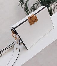 WHITE FAUX LEATHER HARDBACK CROSS-BODY SHOULDER HANDBAG WITH TOP FLAP