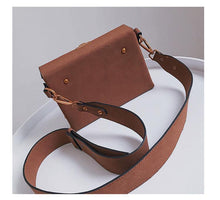 A-SHU BROWN FAUX SUEDE HARDBACK CROSS-BODY SHOULDER HANDBAG WITH TOP FLAP - A-SHU.CO.UK