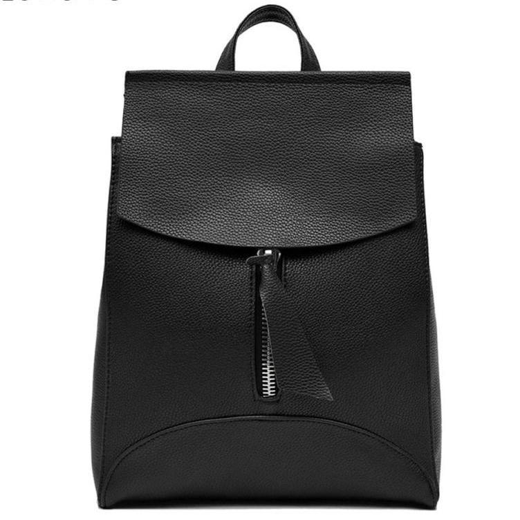 BLACK SLIM-LINE FAUX LEATHER EFFECT BACKPACK / RUCKSACK WITH TOP HANDLE